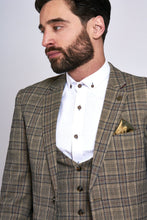 Marc Darcy: ENZO - Tan Tweed Check Three Piece Suit - Gilt Edged