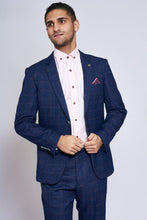 Marc Darcy: HARRY - Indigo Tweed Check Two Piece Suit - Gilt Edged