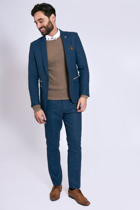 Marc Darcy: DION - Blue Tweed Two Piece Suit - Gilt Edged