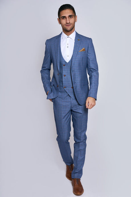 Marc Darcy: GEORGE - Light Blue Check Three Piece Suit - Gilt Edged