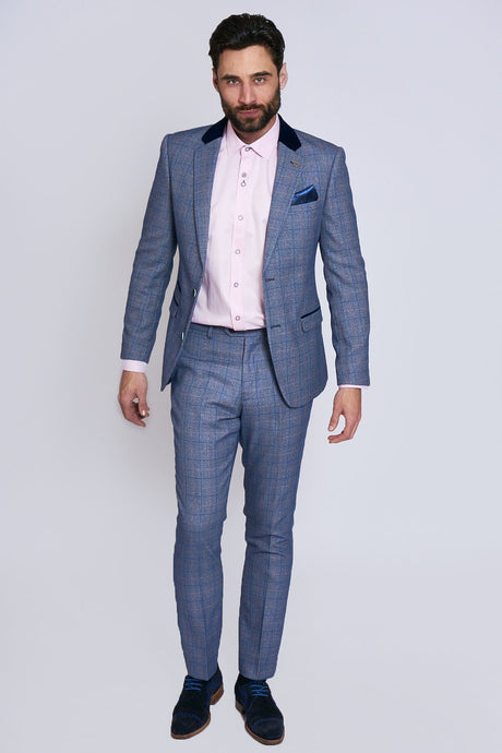 Marc Darcy: HILTON - Blue Tweed Two Piece Suit - Gilt Edged