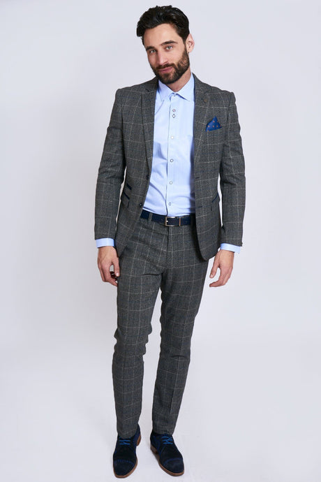 Marc Darcy: SCOTT - Grey Tweed Check Two Piece Suit - Gilt Edged