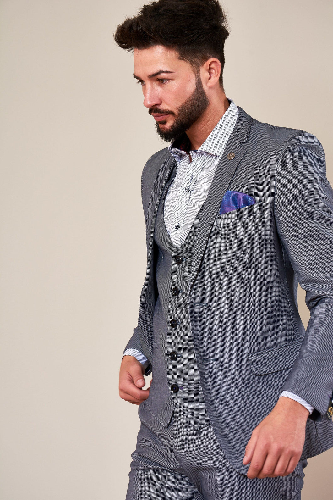 Marc Darcy: DANNY - Blue Grey Three Piece Suit With Single Breasted Waistcoat - Gilt Edged