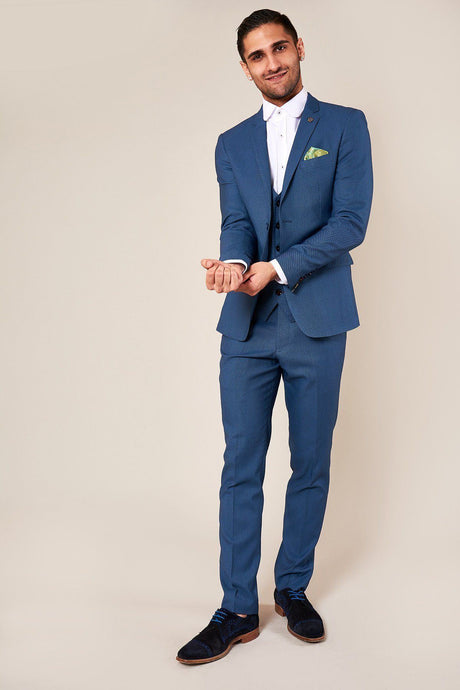 Marc Darcy: DANNY - Sky Blue Three Piece Suit With Single Breasted Waistcoat - Gilt Edged