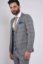 Marc Darcy: ENZO - Sky Stone Tweed Check Three Piece Suit - Gilt Edged