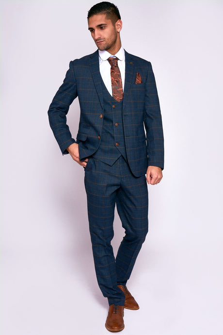 Marc Darcy: JENSON - Marine Navy Check Suit With Double Breasted Waistcoat - Gilt Edged