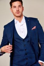 Marc Darcy: JERRY - Blue Check Suit With Single Breasted Waistcoat - Gilt Edged