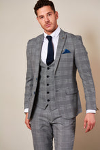 Marc Darcy: JERRY - Grey Check Suit With Single Breasted Waistcoat - Gilt Edged