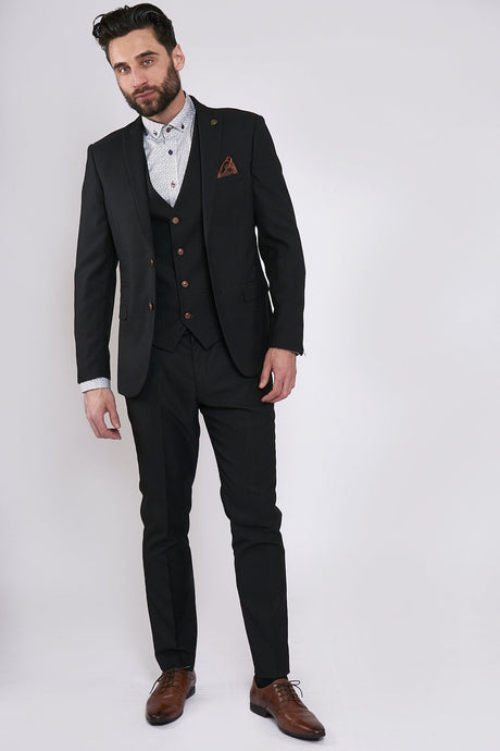 Marc Darcy: MAX - Black Three Piece Suit with Contrast Buttons - Gilt Edged