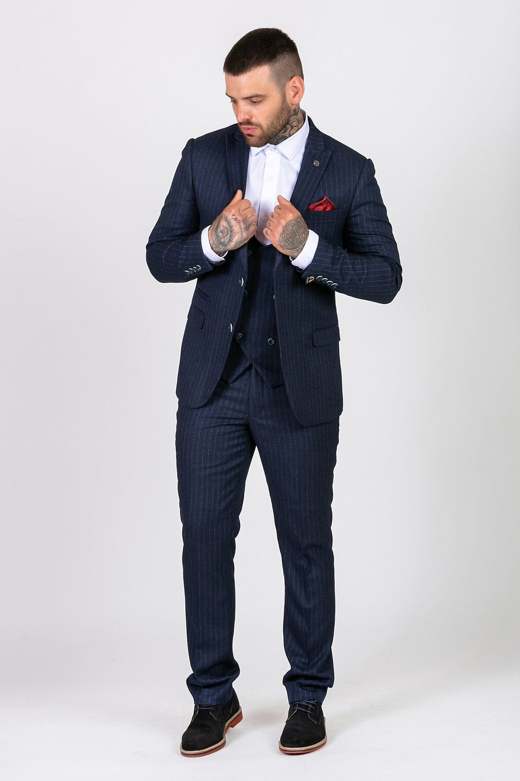 Marc Darcy: LEWIS - Navy Blue Pinstripe Suit with Double Breasted Waistcoat - Gilt Edged