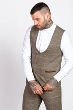 Marc Darcy: TED - Tan Tweed Suit with Double Breasted Waistcoat - Gilt Edged