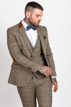 Marc Darcy: DX7 - Tan Tweed Check Three Piece Suit - Gilt Edged