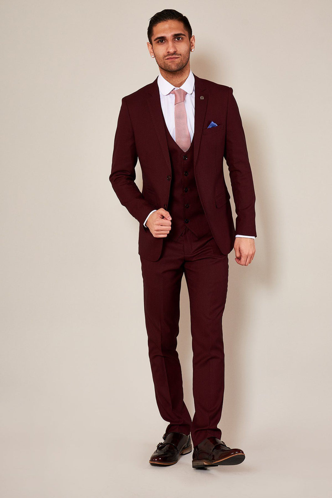 Marc Darcy: DANNY - Wine Three Piece Suit With Single Breasted Waistcoat - Gilt Edged