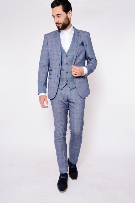 Marc Darcy: HARRY - Blue Tweed Suit With Single Breasted Waistcoat - Gilt Edged