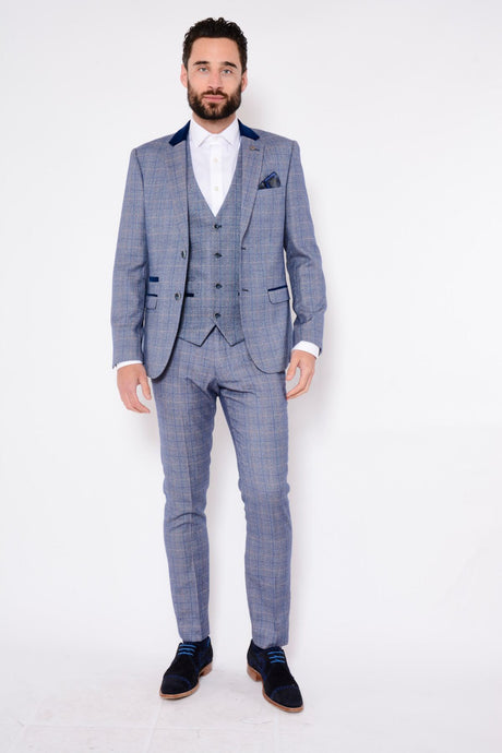 Marc Darcy: HILTON - Blue Tweed Suit With Single Breasted Waistcoat - Gilt Edged
