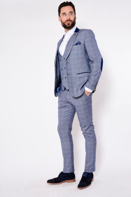 Marc Darcy: HILTON - Blue Tweed Suit With Double Breasted Waistcoat - Gilt Edged
