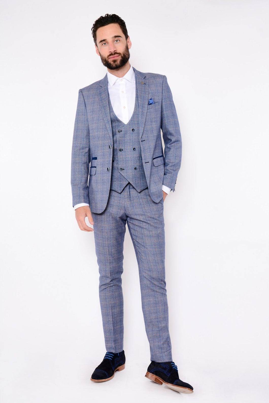 Marc Darcy: HARRY - Blue Tweed Suit With Double Breasted Waistcoat - Gilt Edged