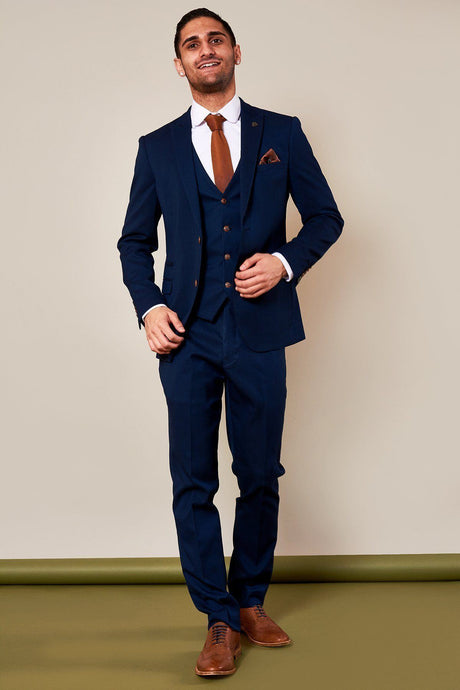 Marc Darcy: MAX - Royal Blue Three Piece Suit with Contrast Buttons - Gilt Edged