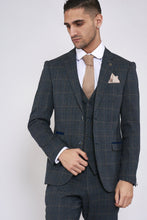 Marc Darcy: SCOTT - Blue Check Three Piece Suit - Gilt Edged