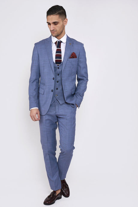 Marc Darcy: SID - Blue Grey Check Three Piece Suit - Gilt Edged