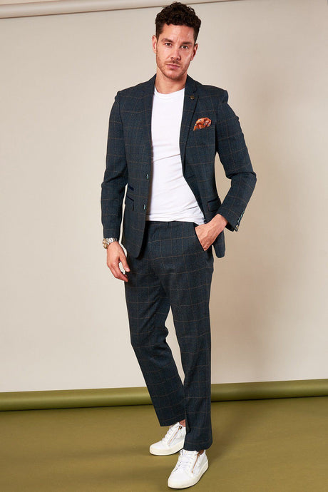 Marc Darcy: SCOTT - Blue Check Two Piece Suit - Gilt Edged
