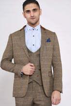 Marc Darcy: DX7 - Tan Tweed Suit With Double Breasted Waistcoat - Gilt Edged