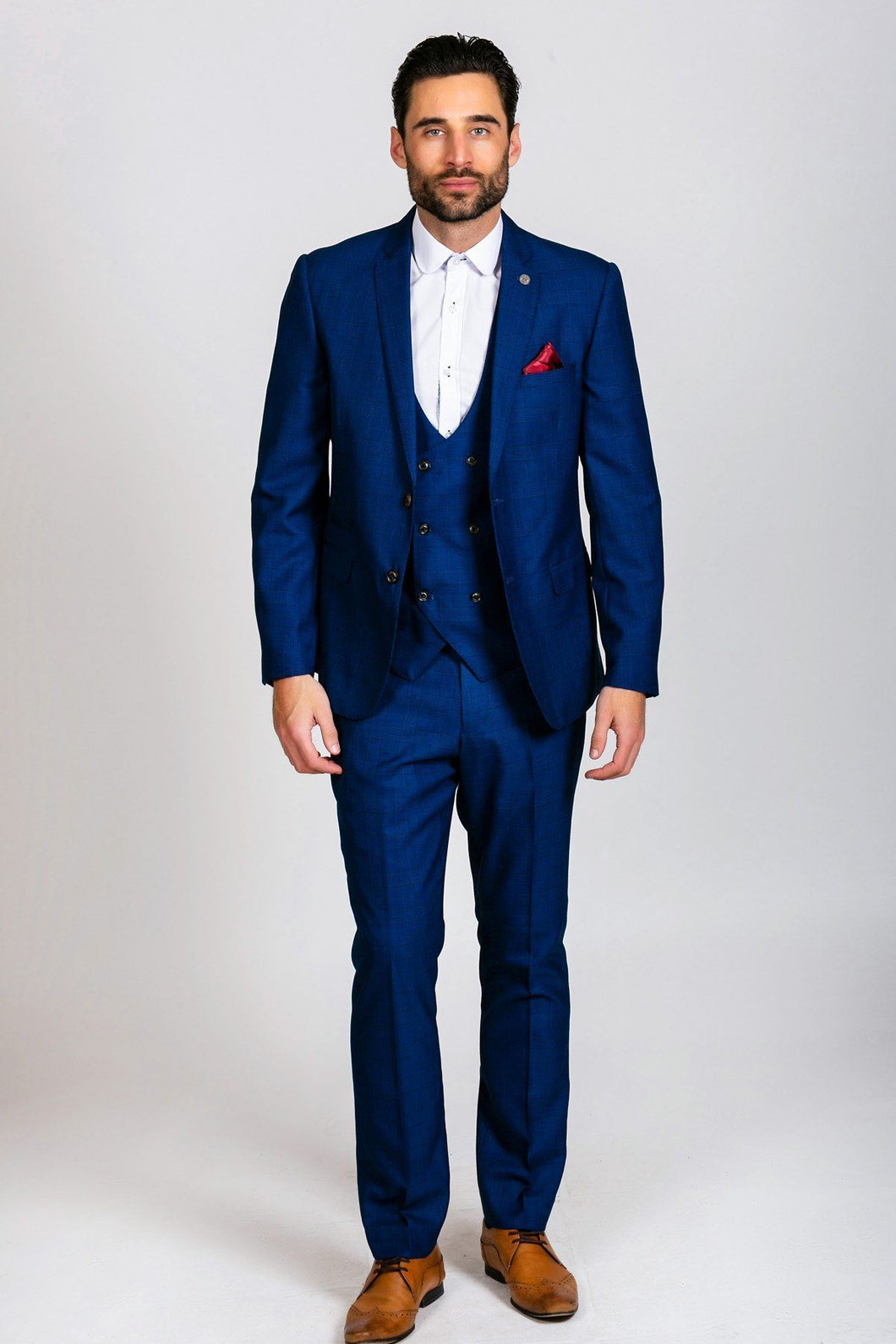 Marc Darcy: GEORGE - Royal Blue Check Three Piece Suit - Gilt Edged