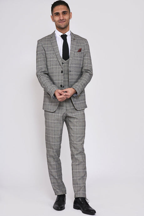 Marc Darcy: ROSS - Grey Check Three Piece Suit - Gilt Edged