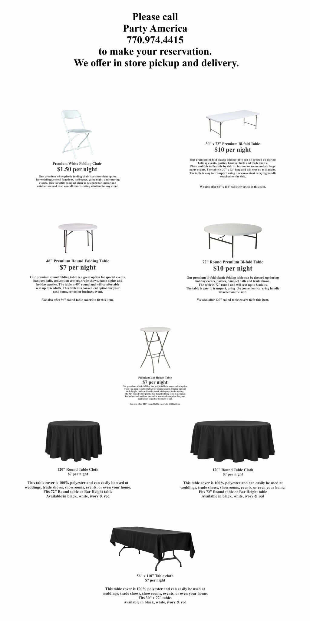 Table Rental Chair Rental Table Cloth Rental