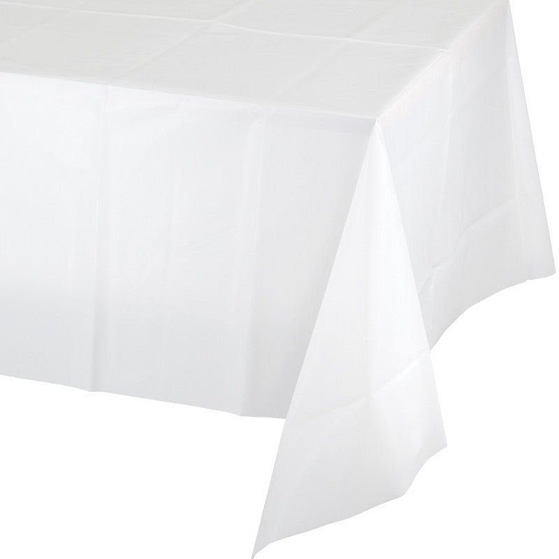 Frosty White Rectangular Plastic Tablecover - WHITE .08 - Party Supplies - America Likes To Party