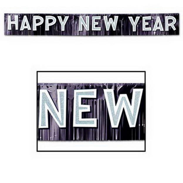 New Year Black and White Fringe Banner
