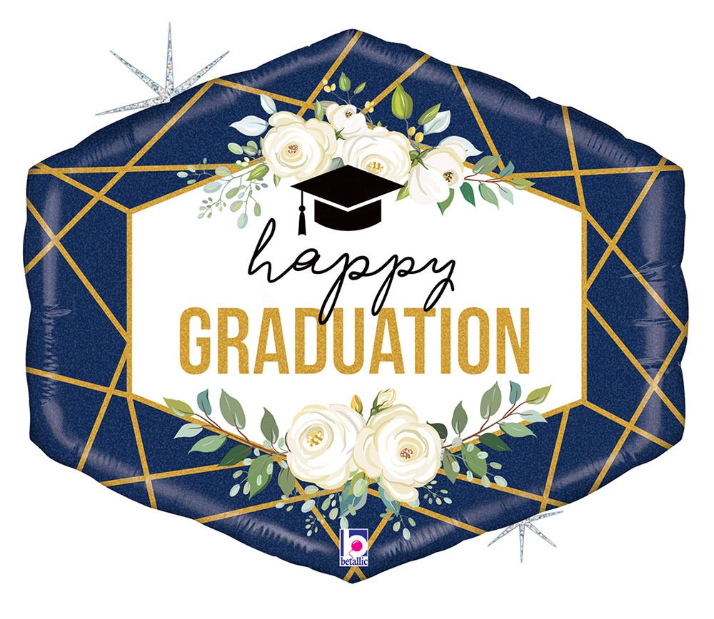 "Happy Graduation Navy Geo Jumbo 30"" Mylar Balloon"