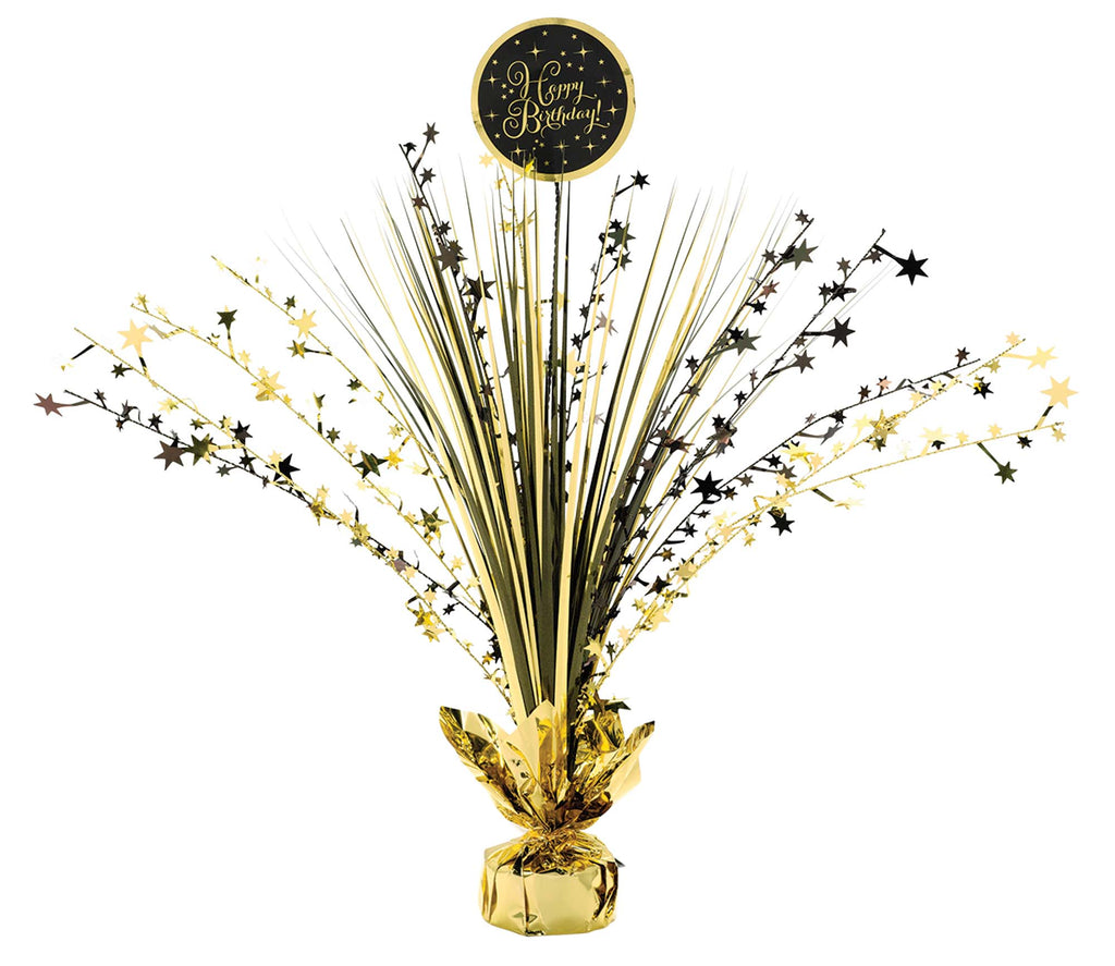 Premium Gold Birthday Spray Centerpiece - SPARKLING CELEBRATION - Party Supplies - America Likes To Party