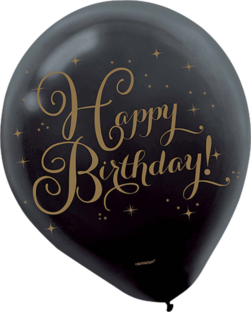 Premium Gold Birthday Latex Balloons 15ct - SPARKLING CELEBRATION - Party Supplies - America Likes To Party