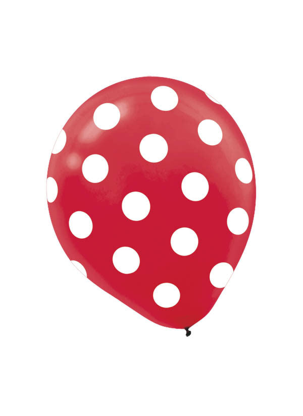 Red Polka Dot 6ct - BAGS LATEX - Party Supplies - America Likes To Party