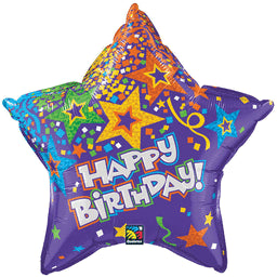 Happy Birthday Purple Confetti Star Balloon
