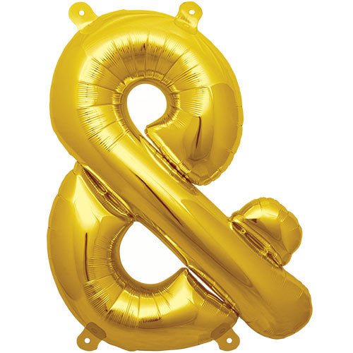 Air-Filled Gold Ampersand Symbol Balloon - MEGALOON NUMBERS/LETTERS - Party Supplies - America Likes To Party