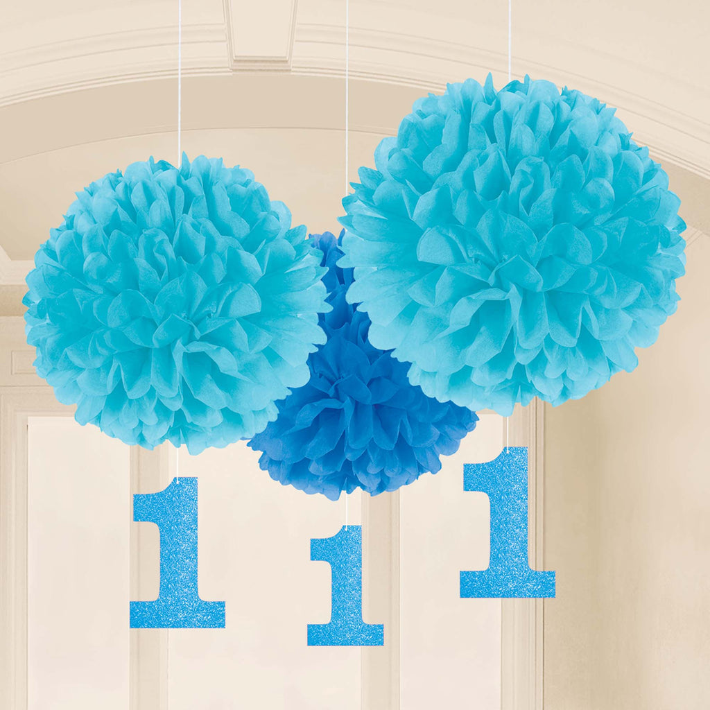 1st Birthday Boy Fluffy Decorations - 1ST BDAY BOY - Party Supplies - America Likes To Party