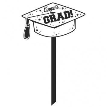 Graduation Cap Lawn Sign White