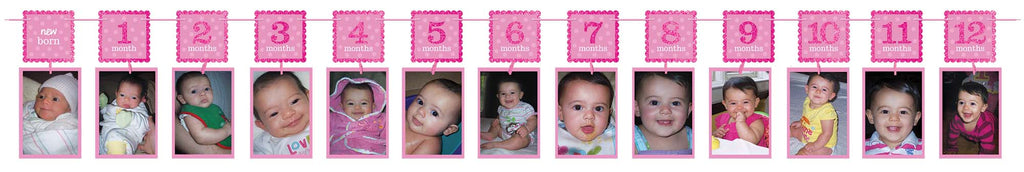 1st Birthday Girl GlitterPhoto Garland - 1ST BDAY GIRL - Party Supplies - America Likes To Party