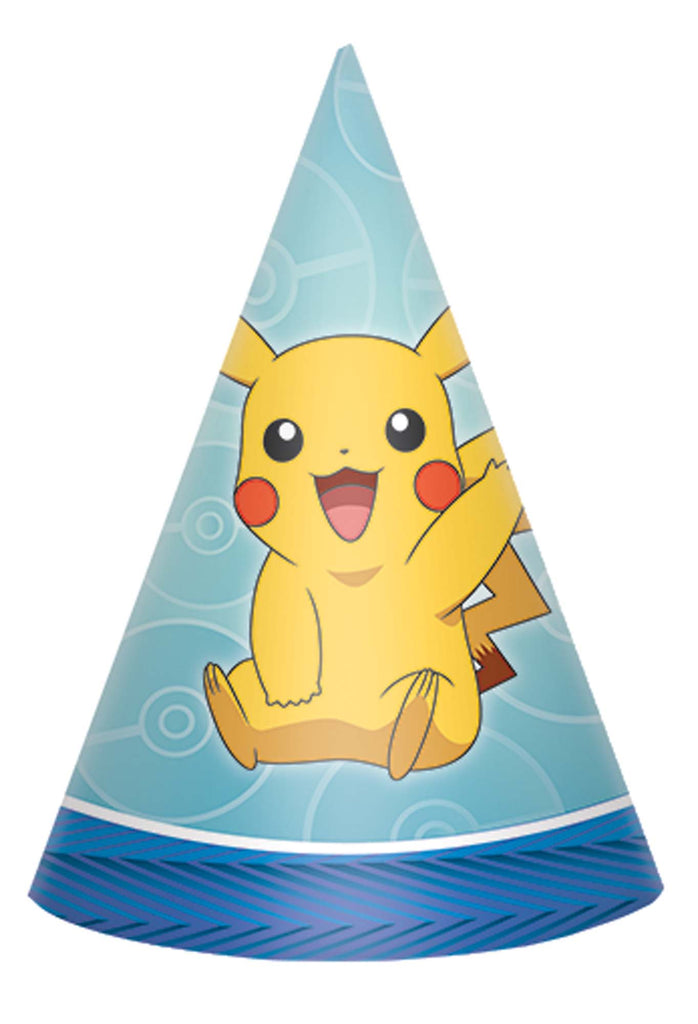 Pokemon Cone Hats 8ct - POKEMON - Party Supplies - America Likes To Party