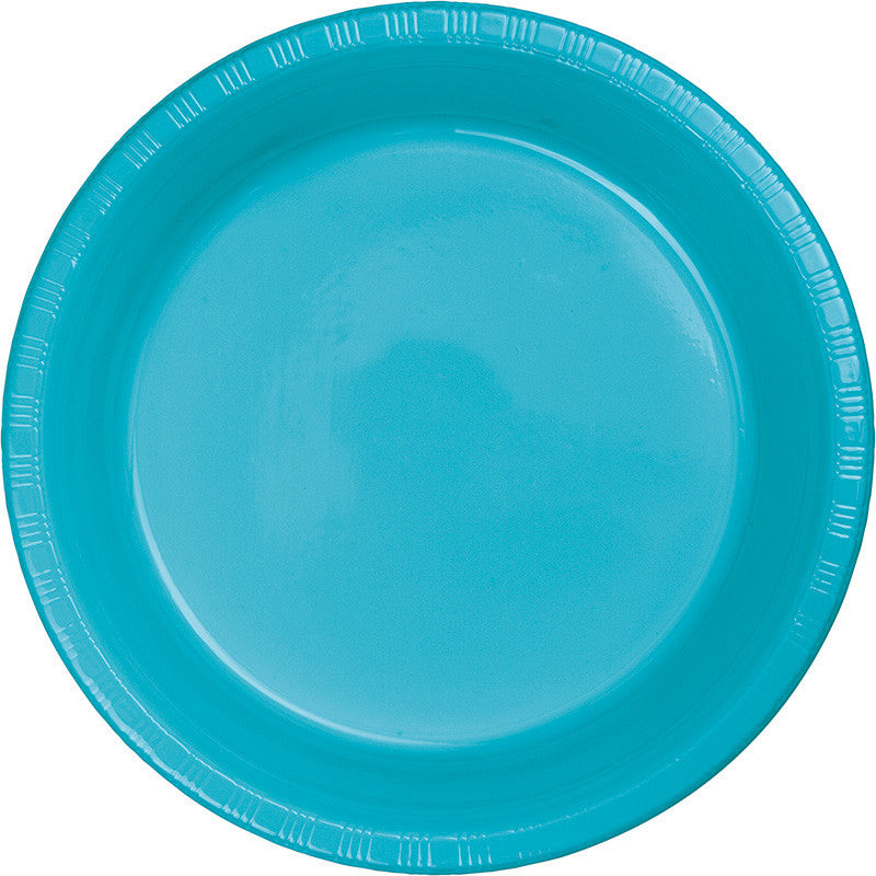 Caribbean Blue Plastic Dinner Plates 20ct - BLUE CARIBBEAN .54 - Party Supplies - America Likes To Party