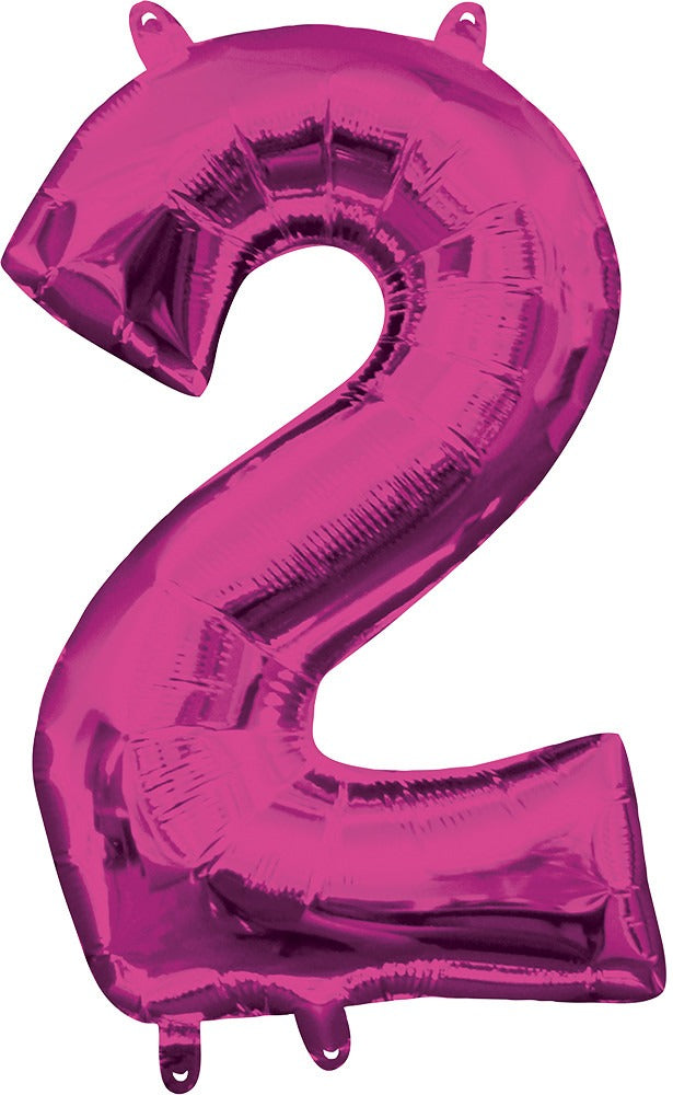 Air filled Magenta Number 2 Balloon