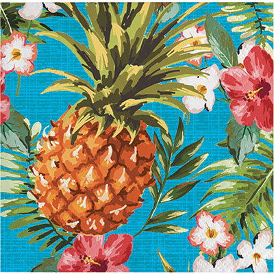 Aloha Pineapple Beverage Napkins 16ct - TABLEWARE SUMMER/LUAU - Party Supplies - America Likes To Party