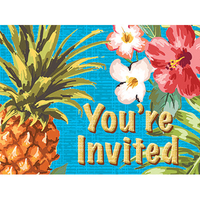 Aloha Pineapple Invitations 8ct - ACCESSORIES SUMMER/LUAU - Party Supplies - America Likes To Party