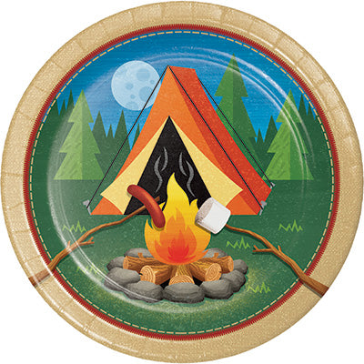 Camp Out Lunch Plates 8ct - CAMPFIRE - Party Supplies - America Likes To Party