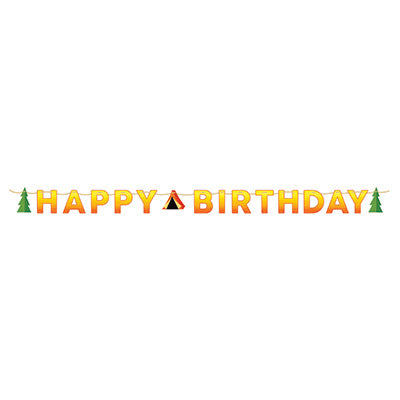 Camp Out Happy Birthday Banner - CAMPFIRE - Party Supplies - America Likes To Party