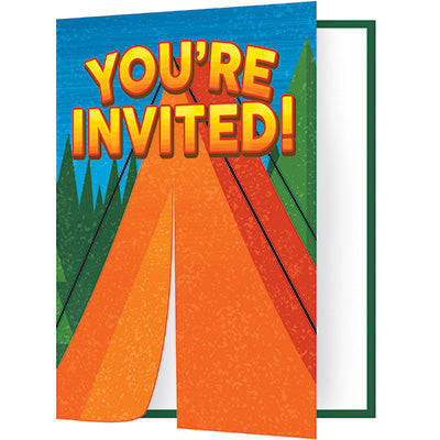 Camp Out Invitations 8ct - CAMPFIRE - Party Supplies - America Likes To Party