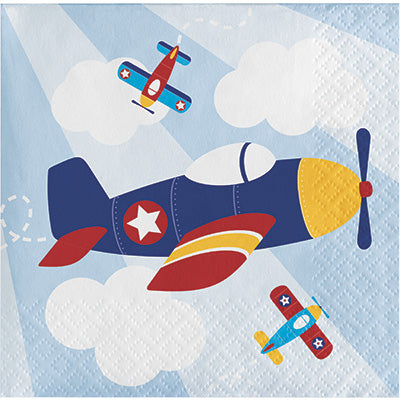Lil Flyer Beverage Napkins 16ct - AIRPLANES - Party Supplies - America Likes To Party