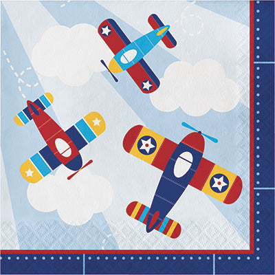 Lil Flyer Lunch Napkins 16ct - AIRPLANES - Party Supplies - America Likes To Party